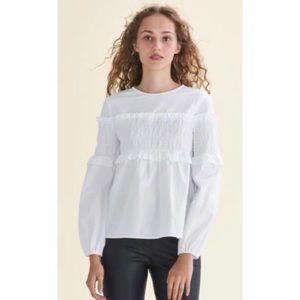 NWT Maje Leba 100% Cotton Smocked Long Sleeve Top